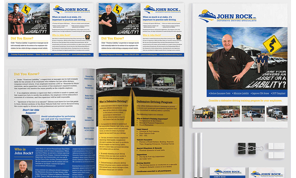John Rock logo, brochure, business cards and ads