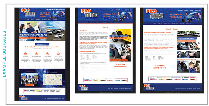 Pro Tire webpage examples